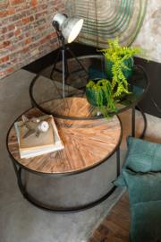 Salontafels Rond Glas + Hout