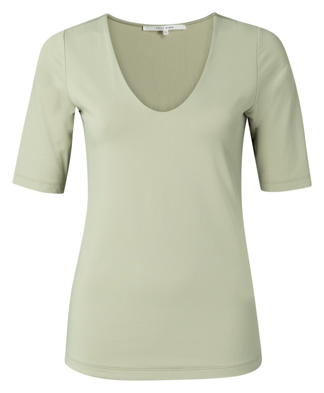 Round v-neck top with half sleeves