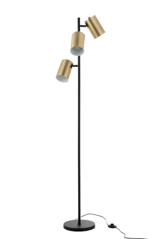 Vloerlamp 3 Cilinders Zwart/Goud