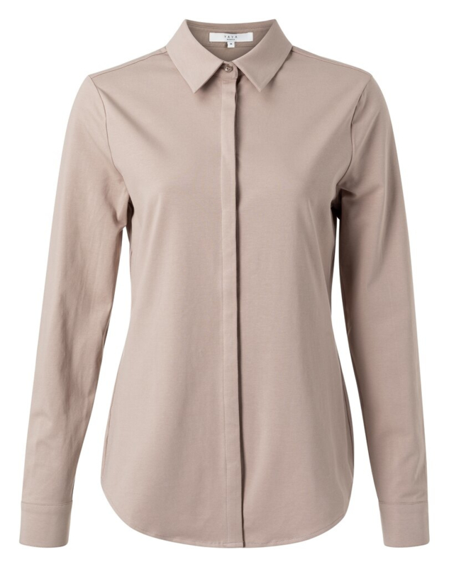 Soft jersey cotton blend shirt with blind placket
