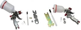 Huismerk spuitpistolen set, 2x HVLP 1.7 + 0.8