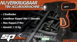 Accu schroefboormachine 16V 2.0Ah SP81222
