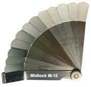 Voelermaten Midlock, 45 graden omgezet, inch en metrisch