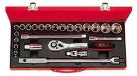 """Ampro 1/2"""" doppenset inch in metalen koffer"""