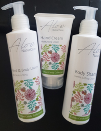 Aloë Set Shampoo, Hand en Bodylotion en Handcream