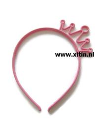 Haarbeugel Kroontje Donker Roze