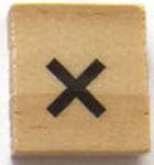 Houten Scrabble Symbool x
