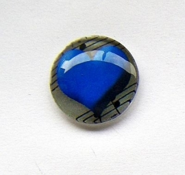 Hart Blauw 25mm Glas Cabochon Rond