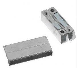 Breed Leer Slot Magnetisch Zilverkleur