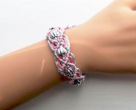 Geknoopte Macrame Armband Zilvergrijs/Roze met kralen