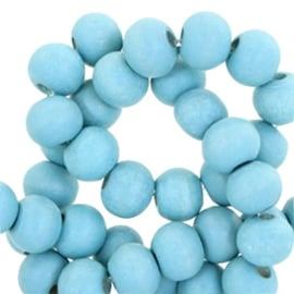 Houten ronde kraal Light Teal Blue 8mm (ca 40 stuks)