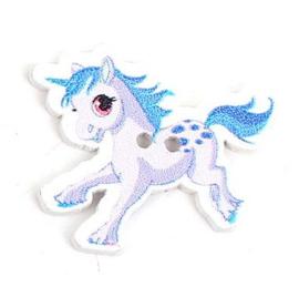 Knoop Hout Eenhoorn Pony Blauw Wit