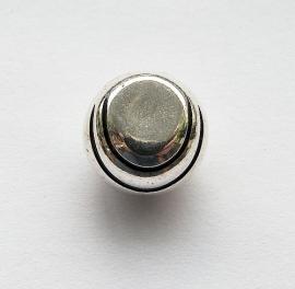 Metallook kraal  rond plat zilverkleur 15x10mm