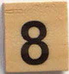 Houten Scrabble Cijfer 8