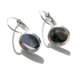 Oorhaakjes cabochon,  Silver plated voor 12mm cabochon