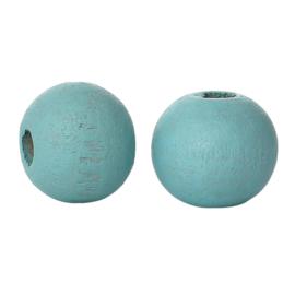 Houten ronde kraal Sky Blue 8mm (ca 40 stuks)