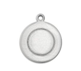 BORDER Tag rond aluminium 12,7x15 mm met oogje