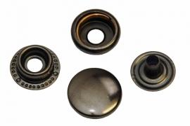 Leder drukknopen Oud Nikkel kleur 15mm dia (10 sets)
