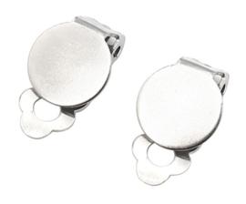 RVS stainless steel Oorbelclips glue on met 10mm plaatje (2st)