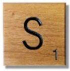 Houten Scrabble Letter S