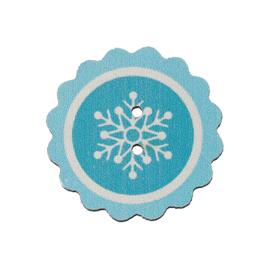 Knoop Hout Blauw met Sneeuwster LOS