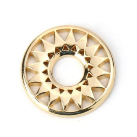 Connector / hanger rond sun flower gold plated