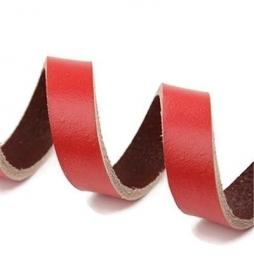 Leer Koord Plat Rood 10mm  (20cm)