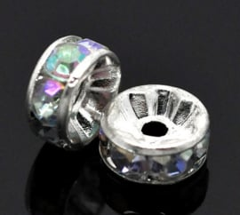 Rhinestone rondelle spacers Crystal AB 8mm(10 st.)