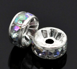 Rhinestone rondelle spacers Crystal AB 8mm(10 st.)