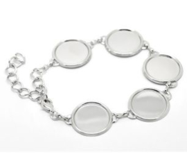 Basis armband met 5x setting voor 18mm cabochon.