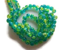 Crackle kraal geel / Aqua Blauw (PER STRENG)