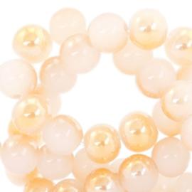 Glaskraal Off White Half Rose Gold Pearl Shine 8mm (per streng)