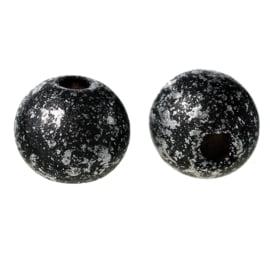 Houten ronde kraal Black Silver 8mm (ca 40 stuks)