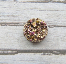Druzy Resin cabochon rond gold metallic AB 12mm