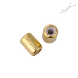 Schuifslot voor koord of ketting Cilinder Gold Plated