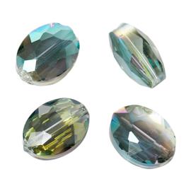 Facet Kristal Glaskralen Ovaal Green AB 12x9mm (10st.)