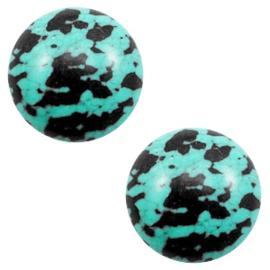 Basic Stone Look Turquoise Black 12mm Cabochon (1st.)