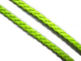 Koord plat imitatie leer gevlochten 5mm dik  Lime groen