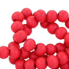 Houten ronde kraal Dark Red Coral 8mm (ca 40 stuks)
