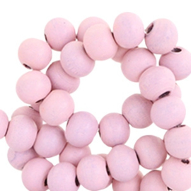 Houten ronde kraal Vintage Lila Pink 8mm (ca 40 stuks)