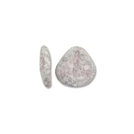 Czech Rose Petals White Teracota Copper 8x7mm (streng 80st.)