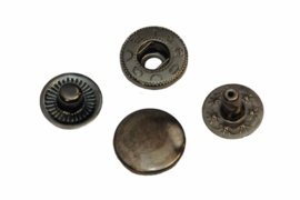 Leder drukknopen Oud Nikkel kleur 12mm dia (10 sets)