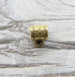 Modi kralen Tube bewerkt met oogje  Antiek Goud