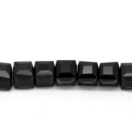 Kristal Glas Kubus kralen Zwart 6mm (per streng)