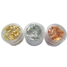 Set met 3 potjes Goud & Zilver Folie Flakes