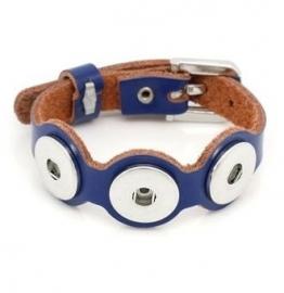 Chunk Armband Leer Blauw