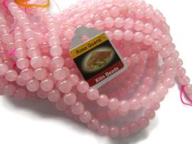 Rozenkwarts kraal rond 10mm per streng