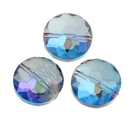 Facet Kristal Glaskralen Rond Plat Blue AB 14mm