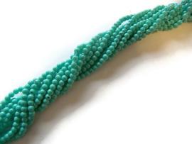 Hele streng Glaskralen gemeleerd Turquoise Groen 4mm