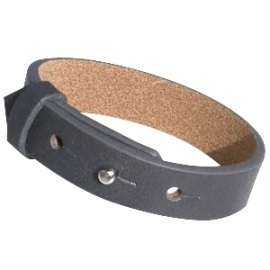 Cuoio Armband Leer 15mm Grafiet Grijs/zwart
